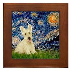 Starry Night / Scottie (w) Framed Tile
