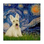 Starry Night / Scottie (w) Tile Coaster
