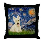 Starry Night / Scottie (w) Throw Pillow