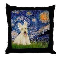 Starry Night / Scottie (w) Throw Pillow