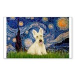 Starry Night / Scottie (w) Sticker (Rectangle 10 p