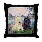 Seine / Scotties (b&w) Throw Pillow