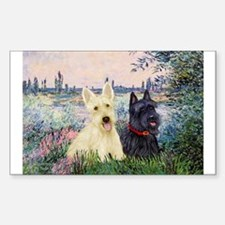 Seine / Scotties (b&w) Sticker (Rectangle)