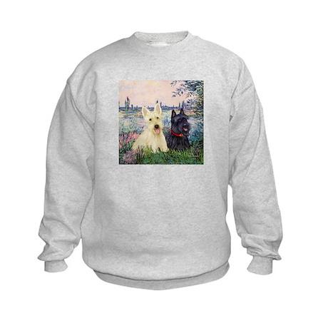 Seine / Scotties (b&w) Kids Sweatshirt