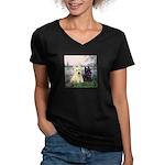 Seine / Scotties (b&w) Women's V-Neck Dark T-Shirt