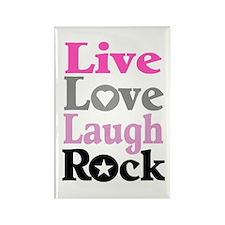 """""""LIVE, LOVE, LAUGH, ROCK"""" Rectangle Magnet"""