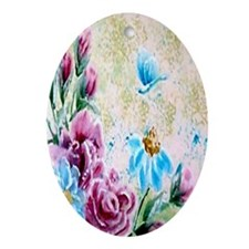 Floral Fantasy Oval Ornament