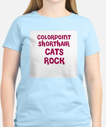COLORPOINT SHORTHAIR CATS ROC Women's Pink T-Shirt