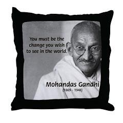 Loyalty to Cause: Gandhi Throw Pillow