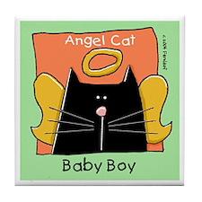BABY BOY Black Cat Angel Memorial Tile