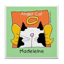 MADELEINE B-W Cat Angel Memorial Tile
