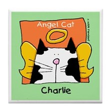 CHARLIE Black White Cat Angel Tile Coaster