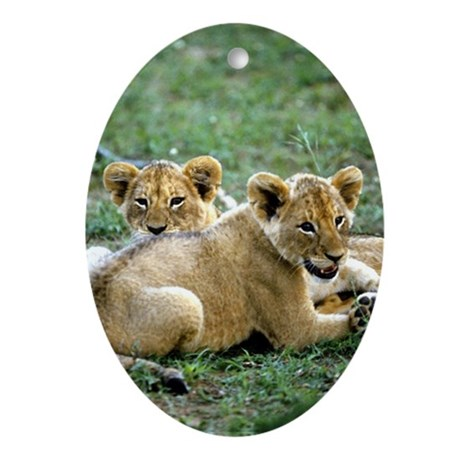 """Two Lion Cubs"" Oval Ornament"