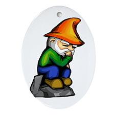 Thinker Gnome Oval Ornament