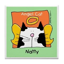 NATTY Black White Cat Memorial Tile Coaster