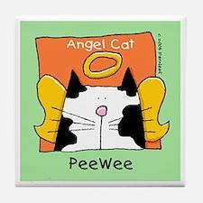 PEE WEE Black White Cat Memorial Tile Coaster