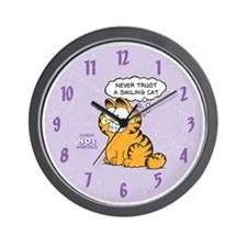Never Trust a Smiling Cat Wall Clock