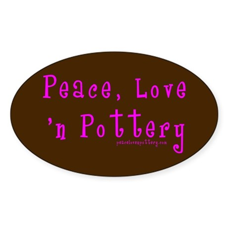 Girl Love Peace n Pottery Oval Sticker