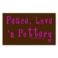 Girl Love Peace n Pottery Rectangle Decal