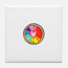 Rainbow Heart Mandala Tile Coaster