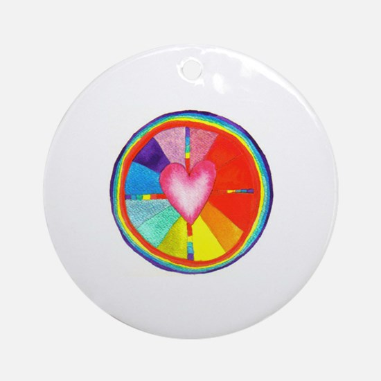 Rainbow Heart Mandala Ornament (Round)