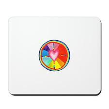 Rainbow Heart Mandala Mousepad