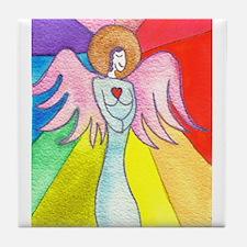 Rainbow Ray Angel Tile Coaster