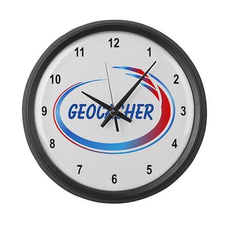 Blue Geocacher Pizzaz Large Wall Clock