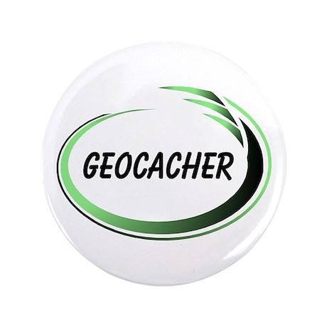 """Green Geocacher Pizzaz 3.5"""" Button"""
