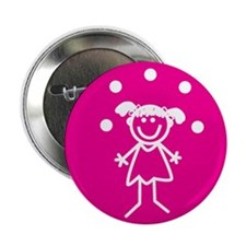 """Juggle Girl (pink) 2.25"""" Button (100 pack)"""