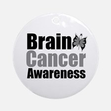 Brain Cancer Butterfly Ornament (Round)