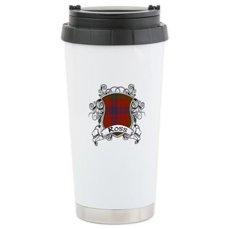 Ross Tartan Shield Stainless Steel Travel Mug