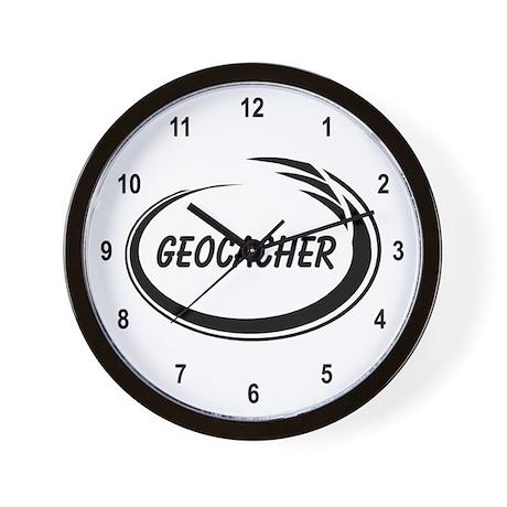 Black Geocacher Pizzaz Wall Clock