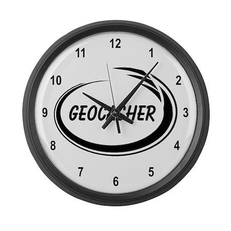 Black Geocacher Pizzaz Large Wall Clock