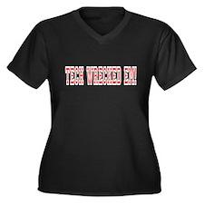 Tech Wrecked Em Women's + Size Vneck Black tshirt