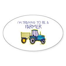 I'm Training To Be A Farmer Oval Sticker (10 pk)