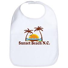 Sunset Beach NC - Sun and Palm Trees Design Bib