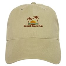 Sunset Beach NC - Sun and Palm Trees Design Baseball Cap