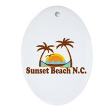 Sunset Beach NC - Sun and Palm Trees Design Orname