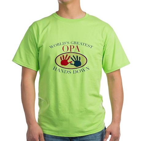 Best Opa Hands Down Green T-Shirt