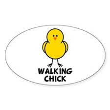 Walking Chick Oval Decal