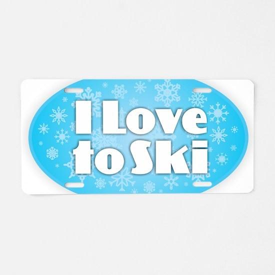 I Love to Ski - Snowflakes Aluminum License Plate