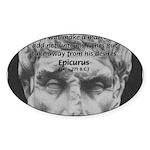 Epicurus Self Control Oval Sticker
