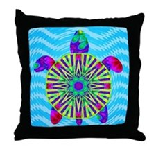 Colorful Sea Turtle Throw Pillow