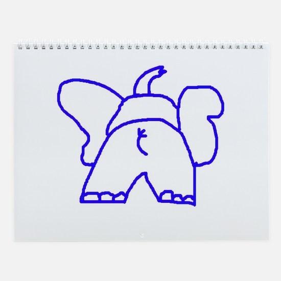 Blue Elephant Wall Calendar