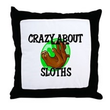 Crazy About Sloths Throw Pillow