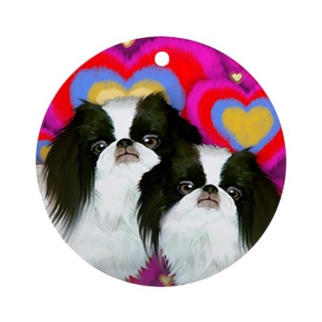 JAPANESE CHIN DOGS LOVE HEARTS Ornament (Round)