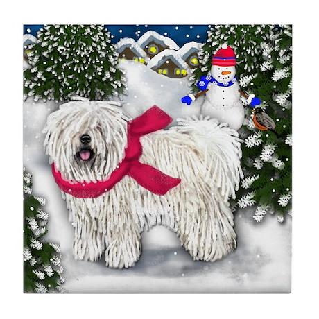 PULI DOG WINTER VILLAGE Tile Coaster