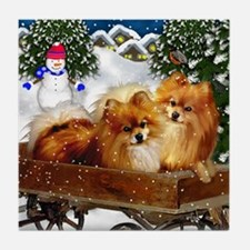 POMERANIAN DOGS WINTER VILLAGE Tile Coaster