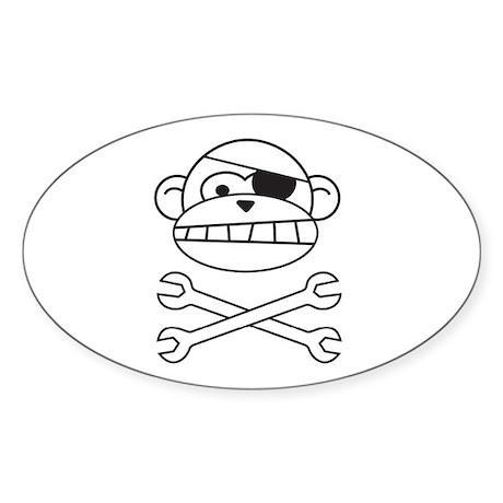 Pirate Monkey Oval Sticker